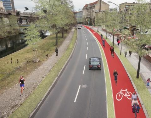 Eine von drei Fahrspuren am Tempelhofer Ufer sollte der Radverkehr erhalten