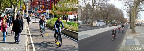 Fortschrittlich: Nicht nur Radstreifen, sondern Bau von geschützten Wegen für Radler (Fotos: Jim Henderson, Wikimedia Commons; Christopher Day)