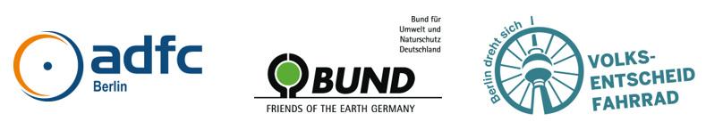 Logos ADFC Berlin, BUND und Volksentscheid Fahrrad